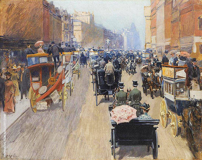 Picadilly Spring Morning 1899 Painting By Fernand Lungren