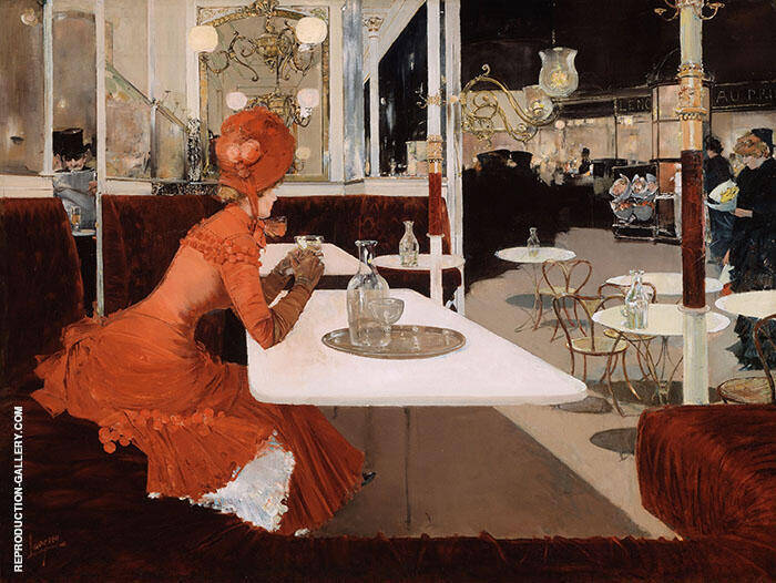In the Cafe c1882 Painting By Fernand Lungren - Reproduction Gallery