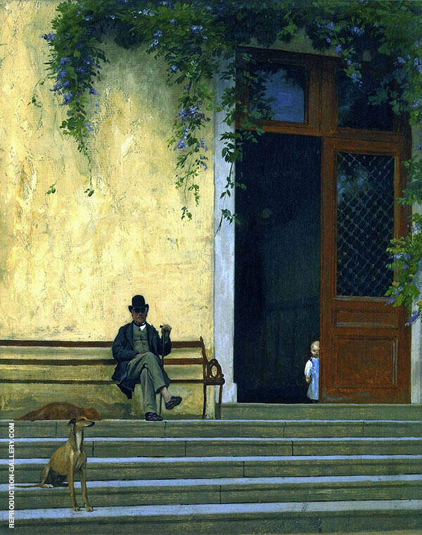 The Artists Father and Son on The Doorstep of His House By Jean Leon Gerome