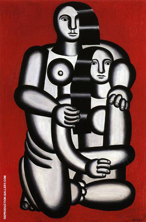 Two Naken Women on Red By Fernand Leger