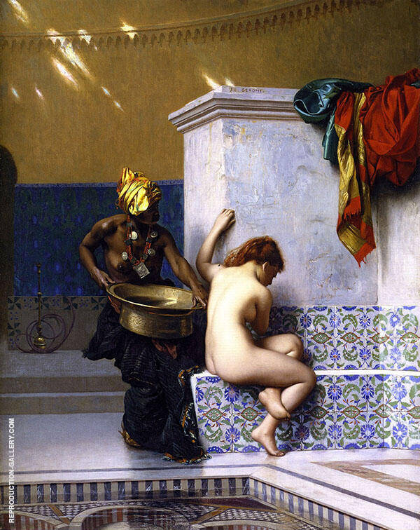 Lady of Cairo Bathing Painting By Jean Leon Gerome - Reproduction Gallery