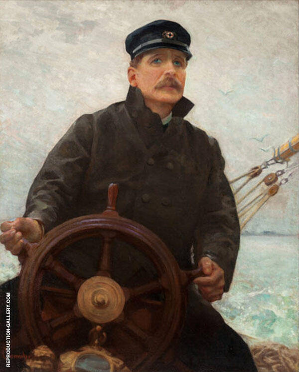 At The Helm Edward Dale Toland Painting By Robert William Vonnoh