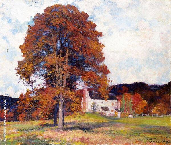Autumn Hillside and My Studio By Robert William Vonnoh