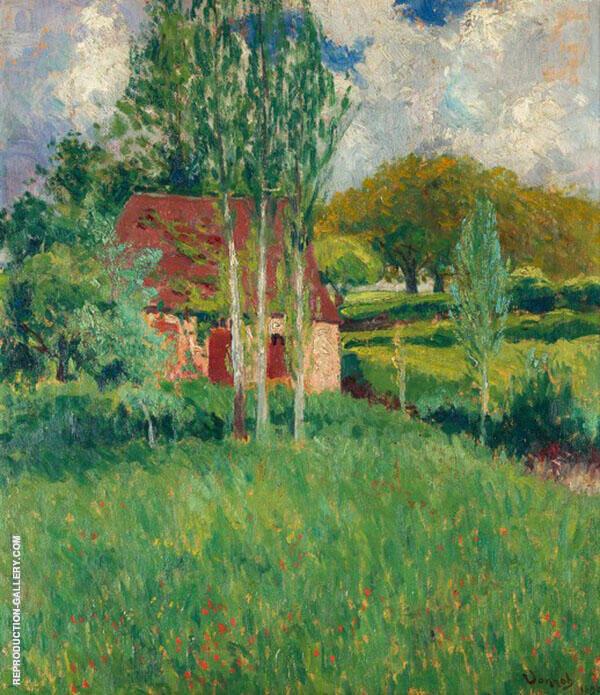 Barn in Summer Landscape By Robert William Vonnoh