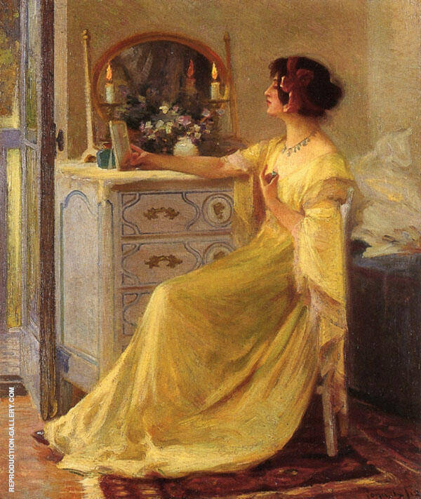 Bessie Potter Vonnoh at Her Dressing Table Painting By ...