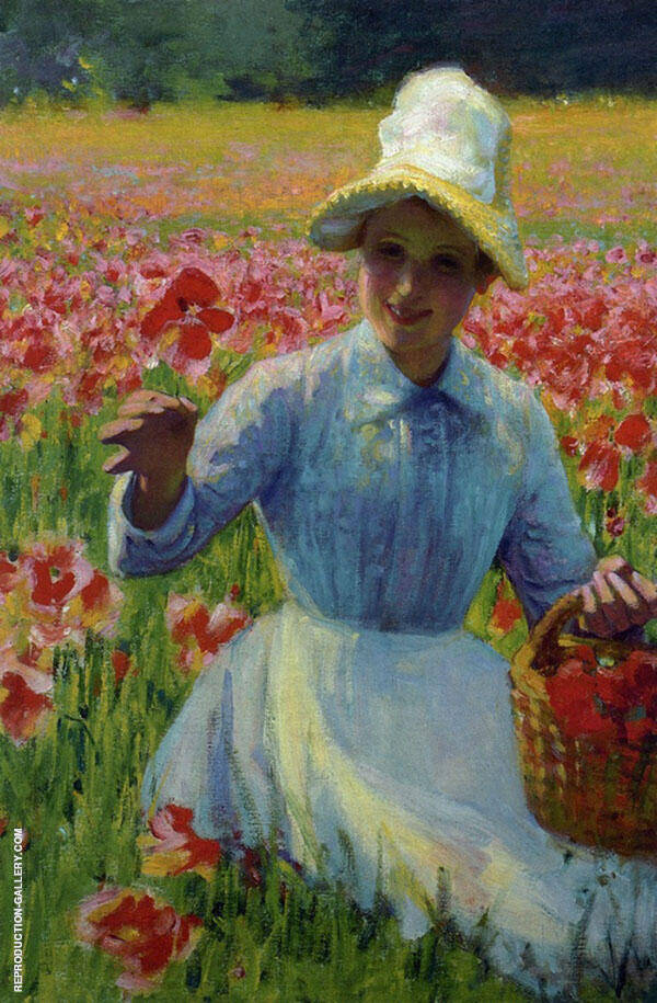 Girl with Poppies Painting By Robert William Vonnoh - Reproduction Gallery