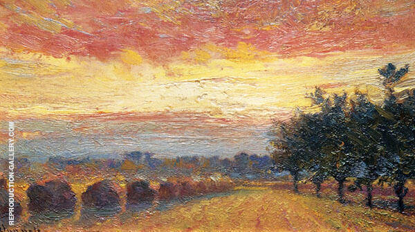 Haystacks Under a Rainy Sky Painting By Robert William Vonnoh