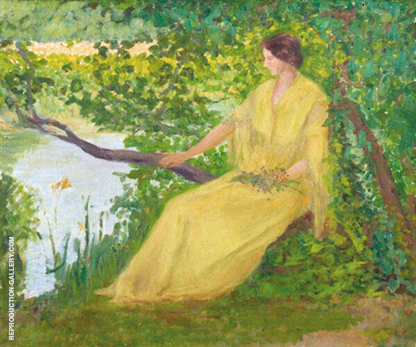 Lady on The Banks of The Loing Painting By Robert William Vonnoh