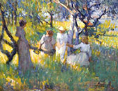 Study for Under The Trees The Ring c1891 By Robert William Vonnoh