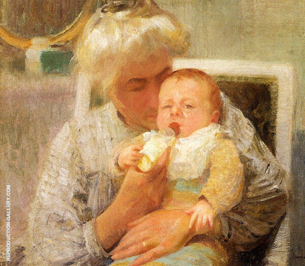 The Baby's Bottle By Robert William Vonnoh