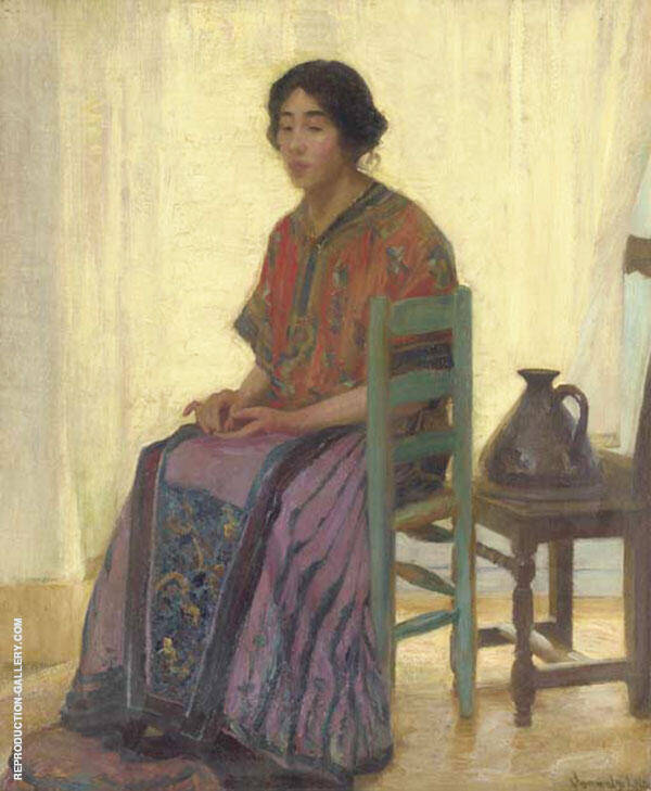The Blue Chair By Robert William Vonnoh