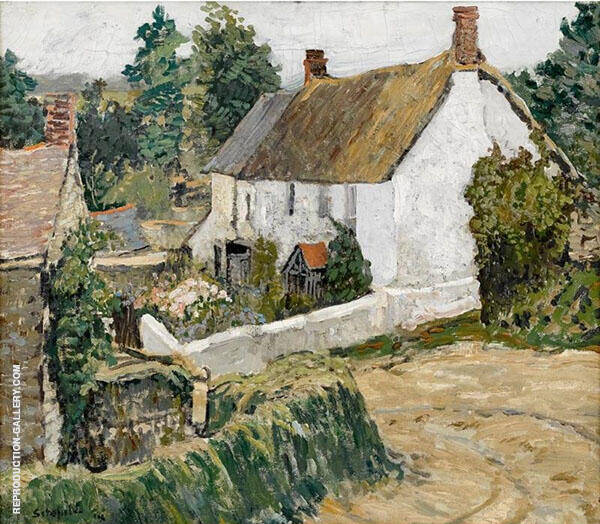 Cottages by a Turn in The Road By Walter Elmer Schofield