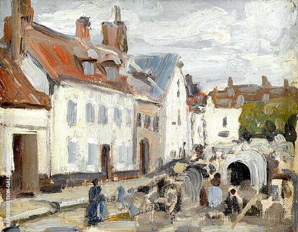Montreuil sur mer The Market By Walter Elmer Schofield