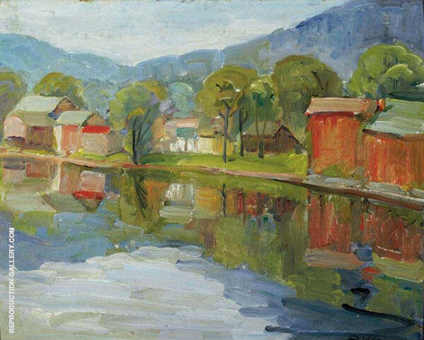 New Hope Landscape with Barns By Walter Elmer Schofield