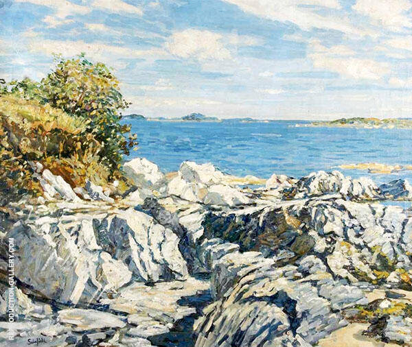 Rocks and Sea Maine Coast Painting By Walter Elmer Schofield