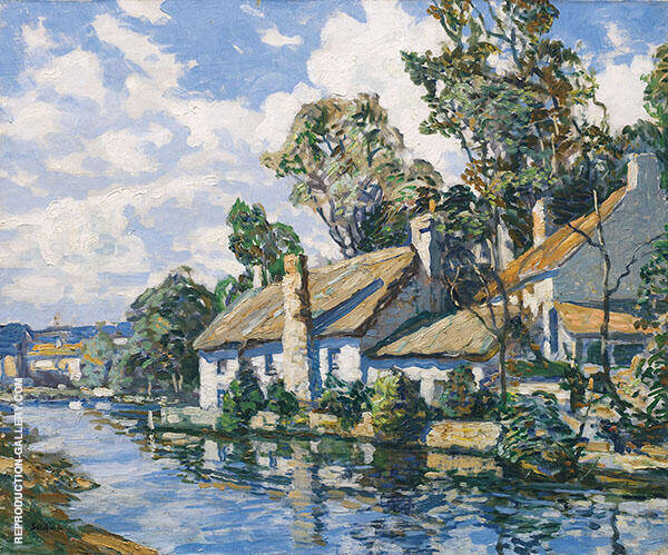 Sunlit Cottages by a River By Walter Elmer Schofield
