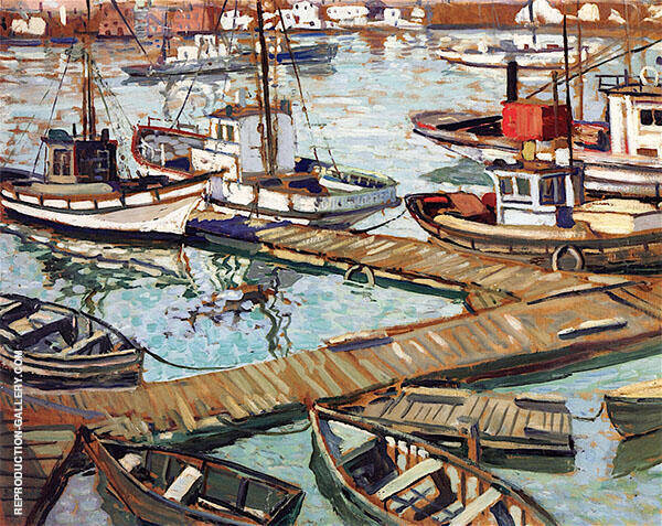 The Boats Basin at Santa Barbara c1934 By Walter Elmer Schofield