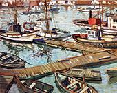 The Boats Basin at Santa Barbara c1934 By Walter Elmer Schofield