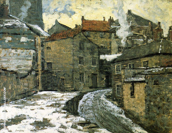 Village in Winter c1910 By Walter Elmer Schofield