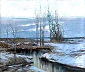 Winter Landscape at Twilight By Walter Elmer Schofield