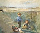 Children on The Sand Dunes By Eva Gonzales