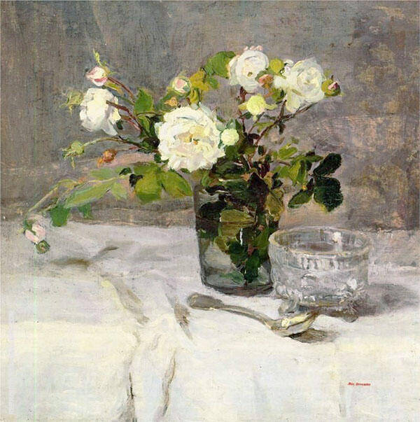 Roses in a Glass c1880 By Eva Gonzales
