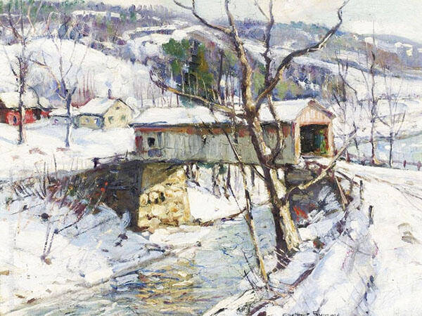 Covered Bridge in Winter Painting By George Gardner Symons