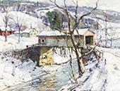 Covered Bridge in Winter By George Gardner Symons
