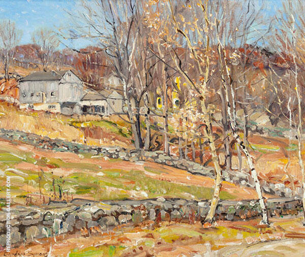 Farmstead and Stone Fence Painting By George Gardner Symons