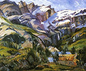Houses at The Base of Snow Capped Mountains By George Gardner Symons