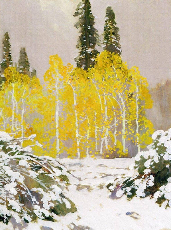 Aspens in The Snow Painting By Fernand Lungren - Reproduction Gallery