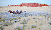 Covered Wagon Train By Fernand Lungren