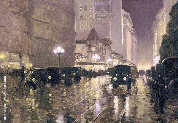 Fifth Street at Hill Looking East Evening By Fernand Lungren