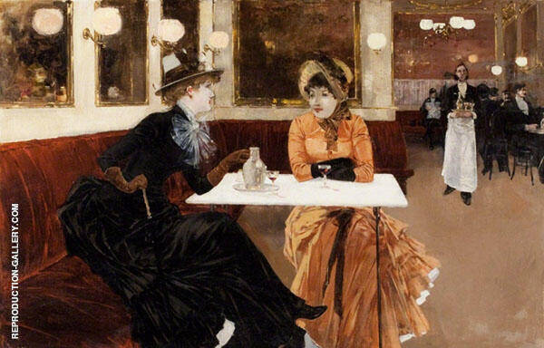 In The Cafe Painting By Fernand Lungren - Reproduction Gallery