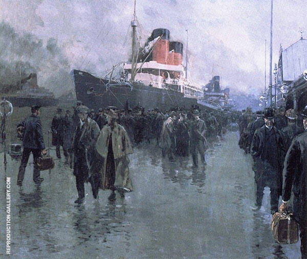 Liverpool also known as Docking a Liner Painting By Fernand Lungren