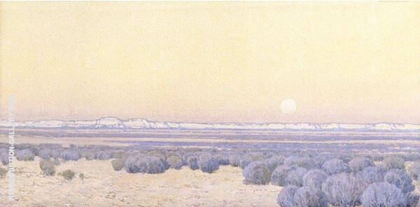 Moonrise at The White Mesa Painting By Fernand Lungren