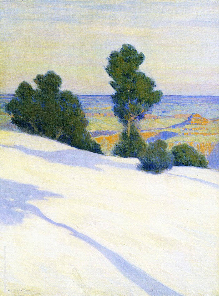 Snowy Landscape Winter in The Grand Canyon Painting By Arthur Wesley Dow