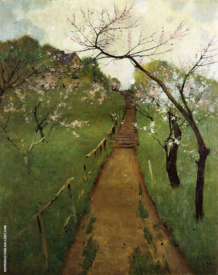 Spring Landscape with a Farmer and White Horse 1892 Painting By ...