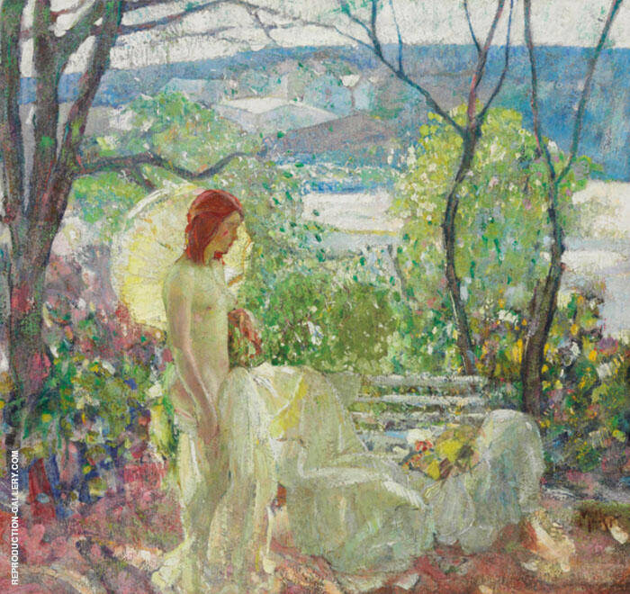 Girl With Parasol By Richard Emil Miller
