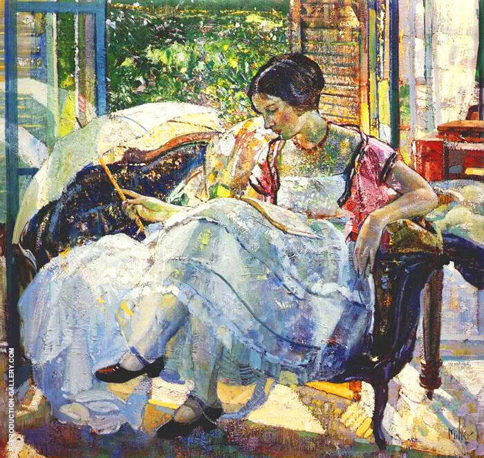 Lady Reading Painting By Richard Emil Miller - Reproduction Gallery