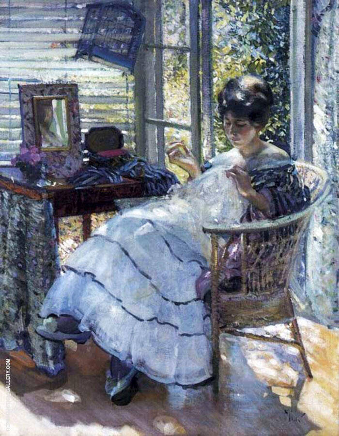Sewing Painting By Richard Emil Miller - Reproduction Gallery