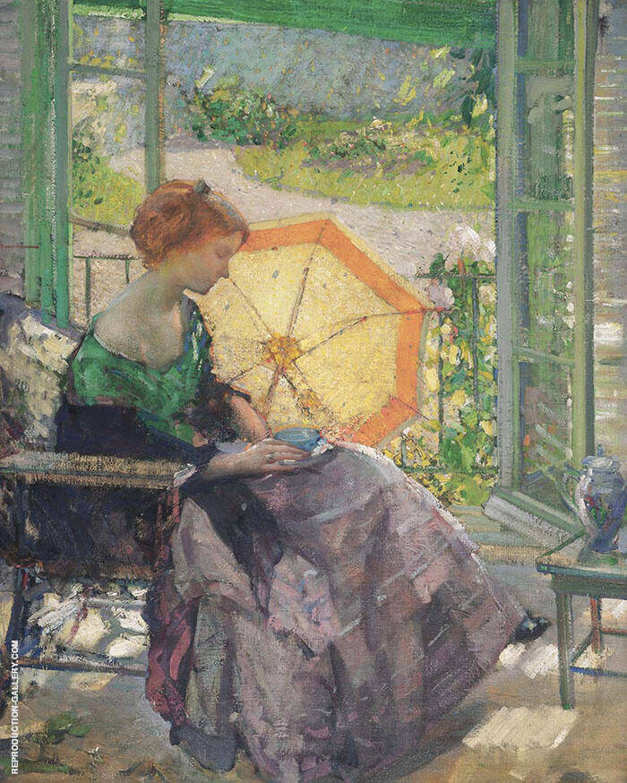 Tea Time c1914 by Richard Emil Miller | Oil Painting Reproduction Replica On Canvas - Reproduction Gallery