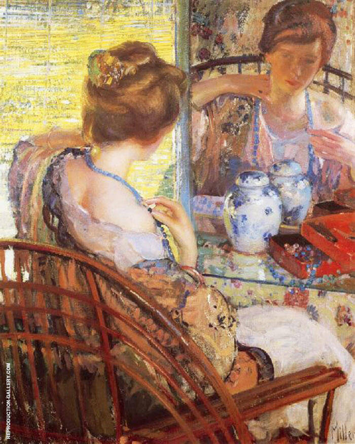 The Blue Beads Painting By Richard Emil Miller - Reproduction Gallery