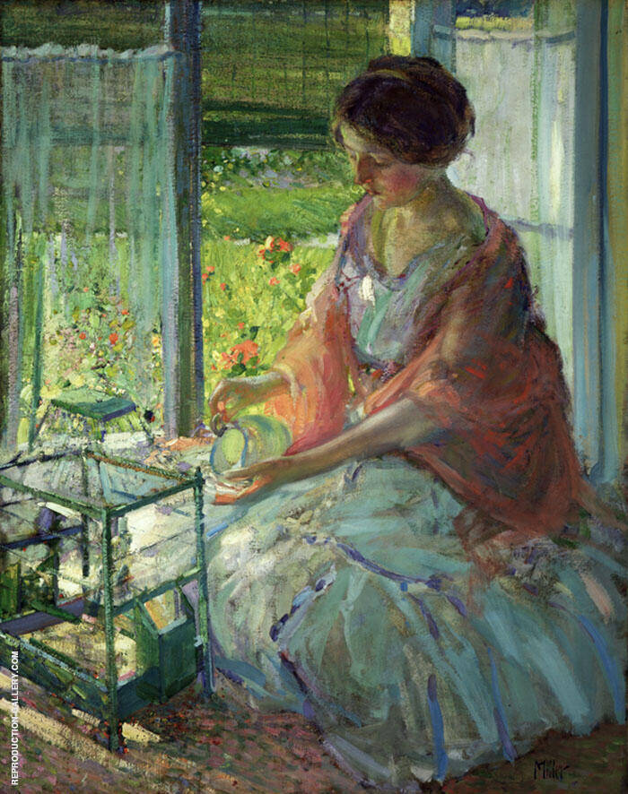The Green Cage Painting By Richard Emil Miller - Reproduction Gallery