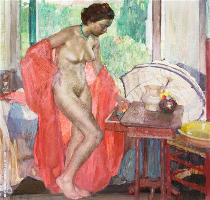 The Red Scarf Painting By Richard Emil Miller - Reproduction Gallery
