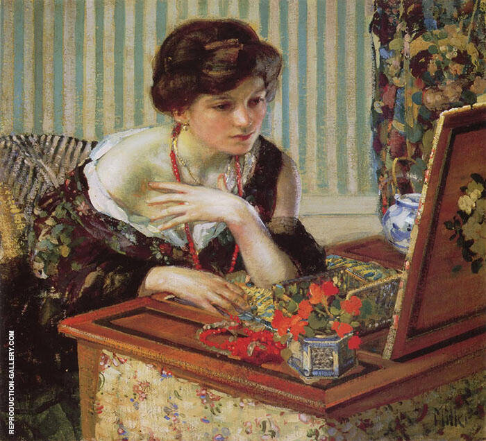 The Scarlet Necklace Painting By Richard Emil Miller