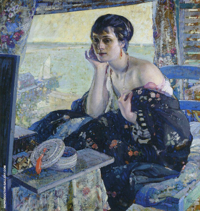 Woman by a Window Painting By Richard Emil Miller - Reproduction Gallery