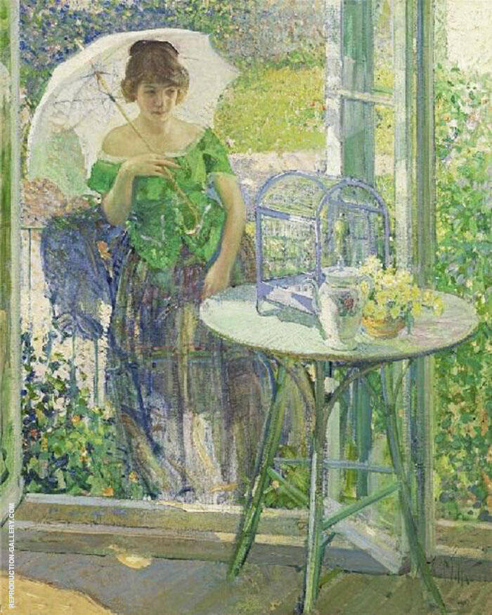 Woman in a Green Dress By Richard Emil Miller