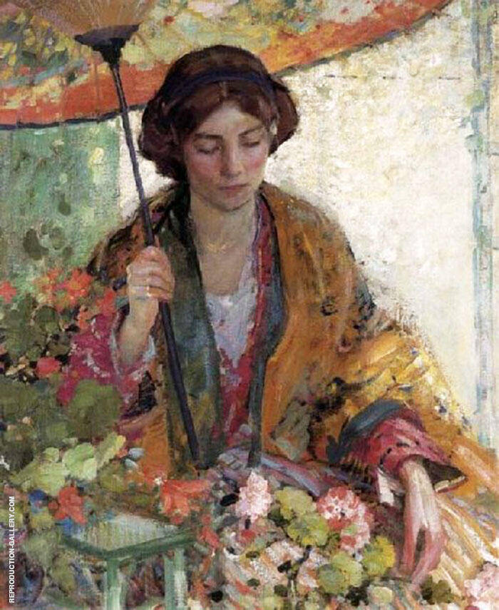 Woman with a Parasol Painting By Richard Emil Miller