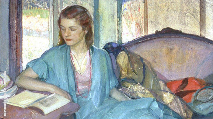 Young Lady Reading Painting By Richard Emil Miller - Reproduction Gallery